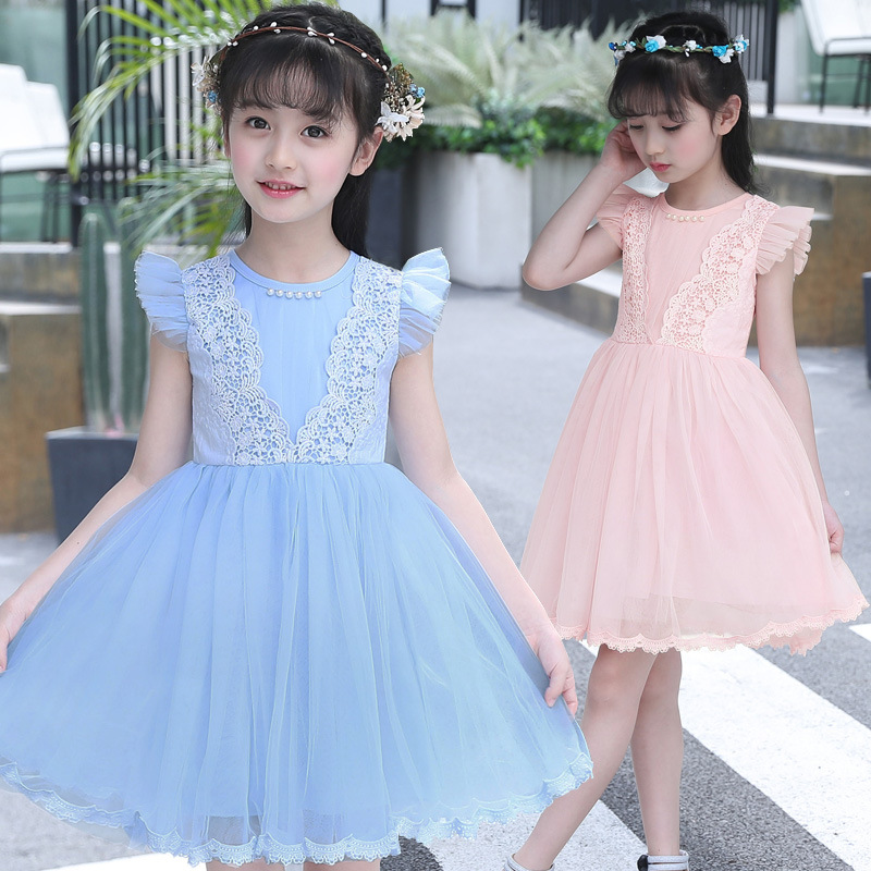 Party Leader Girls Dress 2018 New Summer Mesh Girls Clothes Applique Princess Dress Children Summer Clothes Baby Girls Dres
