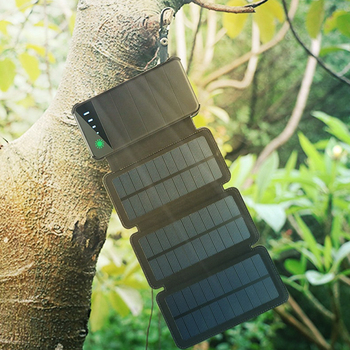 Solar Panel Charger Mobile Power 10000mAh Mobile Phone Battery Dual USB Port Outdoor Portable Folding Waterproof Power Supply 4