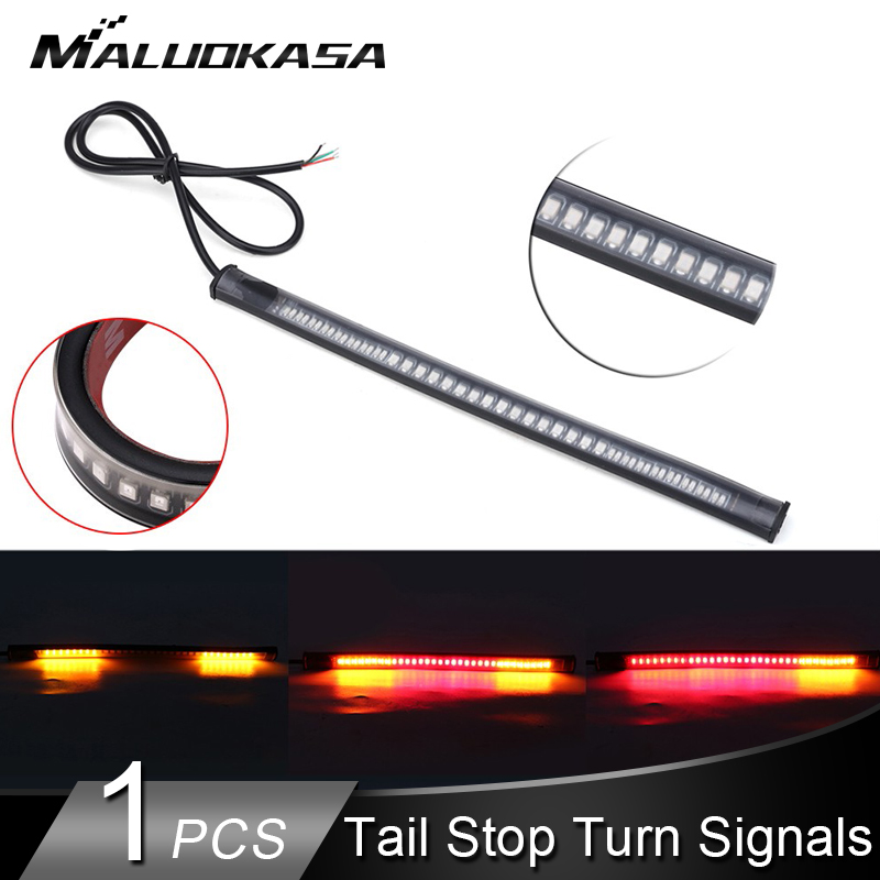 Motorcycle LED Light Bar Strip Turn Signals Flexible Tail Brake Stop Signal Blinker Indicator 3528 48 LED License Plate Light