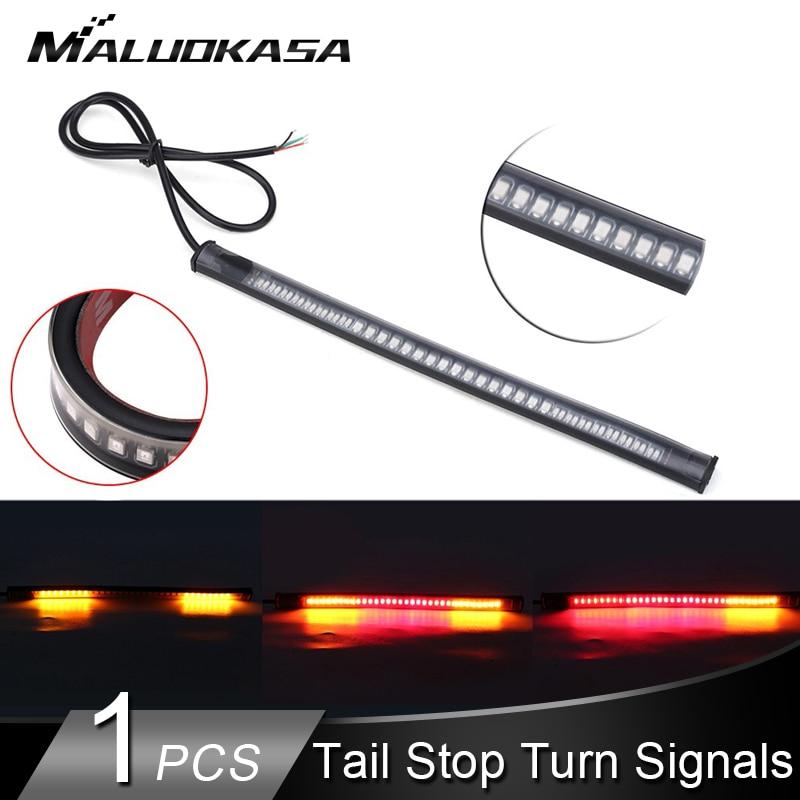 Motorcycle LED Light Bar Strip Turn Signals Flexible Tail Brake Stop Signal Blinker Indicator 3528 48 LED License Plate Light