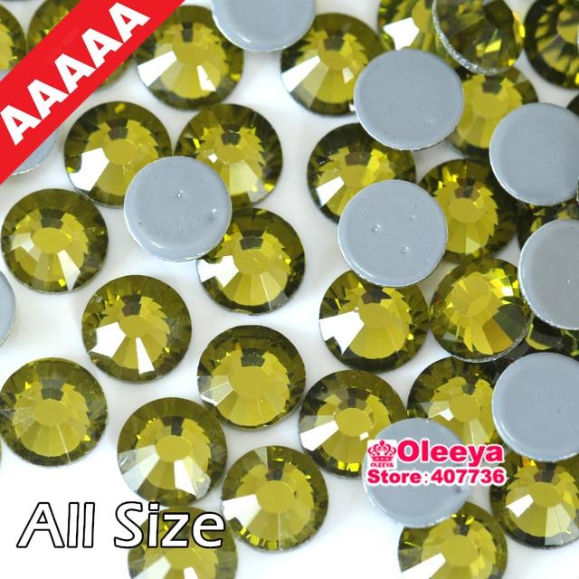 AAAAA Quality Hotfix Rhinestones Olive Color ss6 ss10 ss16 ss20 ss30  Flatback Iron On Hot Fix Rhinestone For Luxury Dress Y0583 ea65d5943956