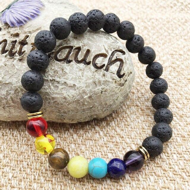 Black Lava Rock 8mm Beads 7 Chakra Healing Balance Bracelet for Men Women Reiki Prayer Stone Yoga Chakra Bracelet Drop Shipping 1