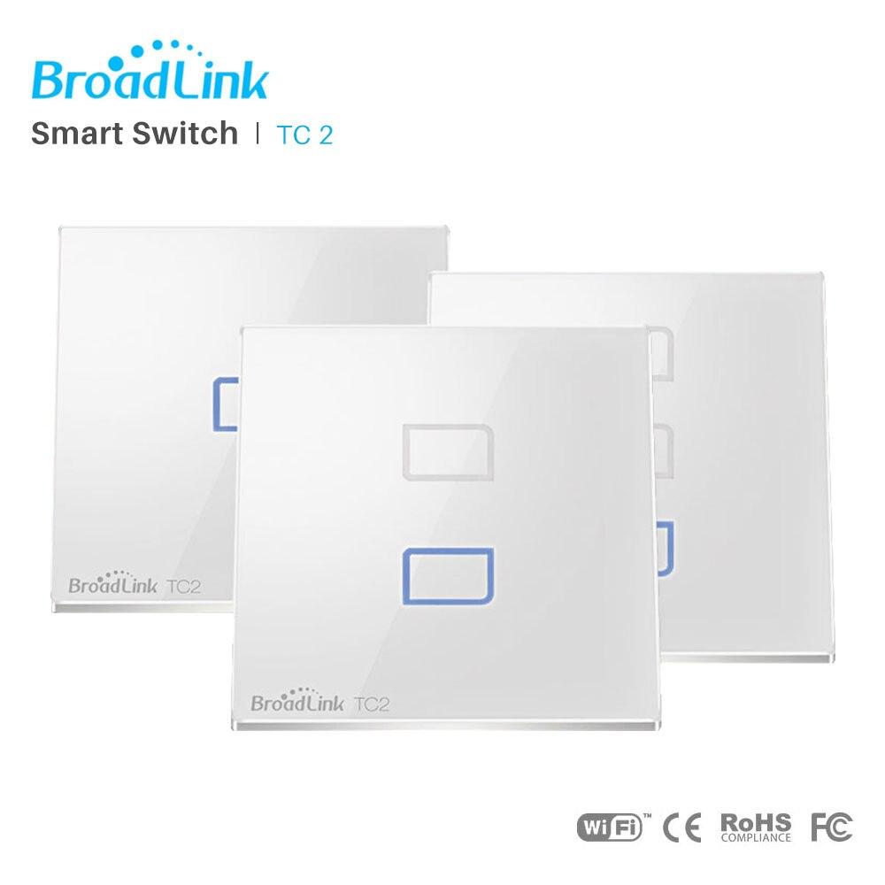 Broadlink TC2 WiFi Interrupteur Lumière UE/UK Standard Mur Tactile Interrupteur Panneau RF 433 mhz Smart Domotique Via smartphone APP