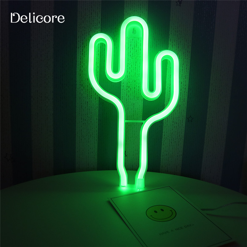 DELICORE New USB Battery Green Light Neon Lamp Holiday Light Cactus Shaped LED Night Light Home Festival Wedding Decor S197 jiaderui usb rechargeable battery neon lamp new year christmas wedding decor lamp flamingo cactus moon cloud led home nightlight