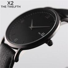 X2 THE TWELFTH 2017 Luxury Watch Men Women Black Gold Casual Quartz-Watch PU Leather Watch 40mm Clock Relojes Mujer Montre Femme цена в Москве и Питере