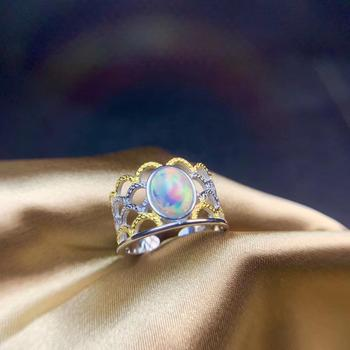 palace banquet graceful Opal gemstone ring  crown golden color natural gem fireworks fine jewelry birthday party engagement gift