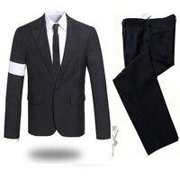 Редкие MJ Майкл Джексон опасных повязки черный костюм Блейзер Полный наряд для prefromance партия Показать подарок