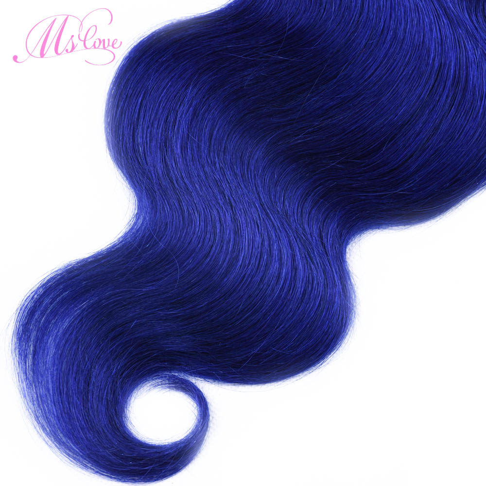 Ms Love Pre Colored Blue Human Hair Bundles Body Wave Hair Extensions 1 Pcs Remy Brazilian Hair Weave Bundle 100 Gram 8-28 Inch