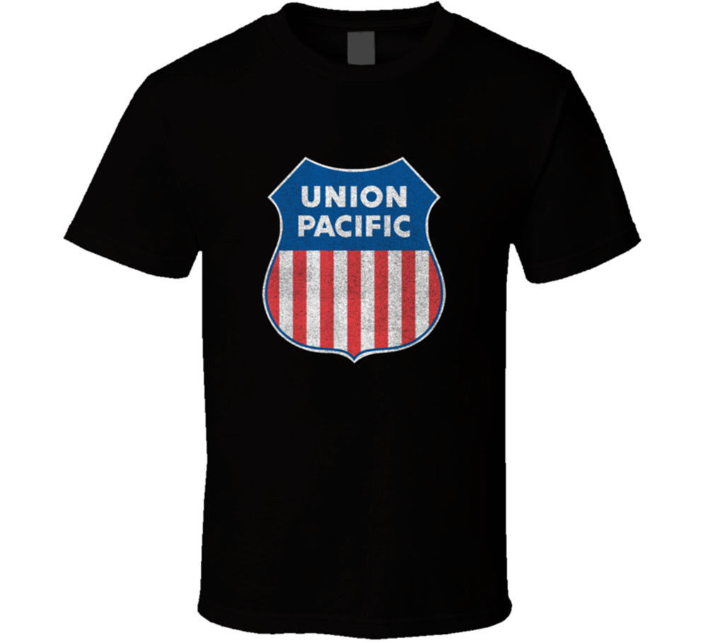 MenS O-Neck Printed Tee Shirt Union Pacific T-shirt Railroad Railway Train Building America Gift New From US