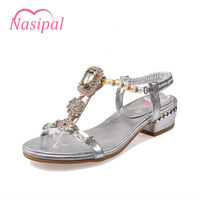 SGESVIER Crystal Gladiator Sandals 2017 New Bling Sexy High Heels Platform Wedges Sandals Casual Gold Shoes