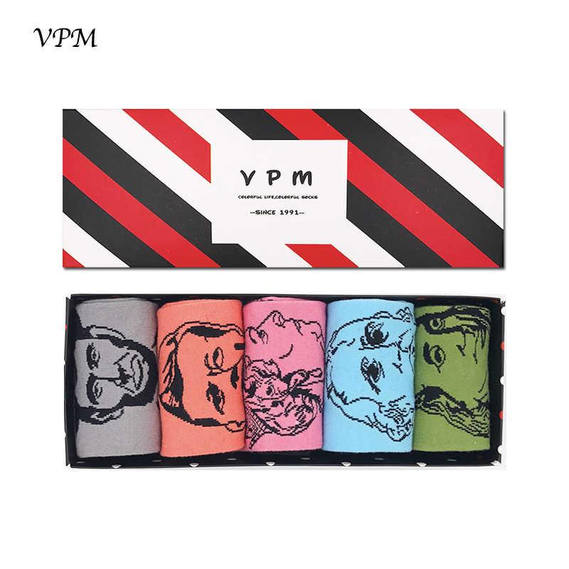 Vpm Katoen Art Vrouwen & Mannen Sokken Harajuku Print Design Beroemde Mensen Gelukkig Skate Grappige Sokken Geschenkdoos (5 Paren/partij)