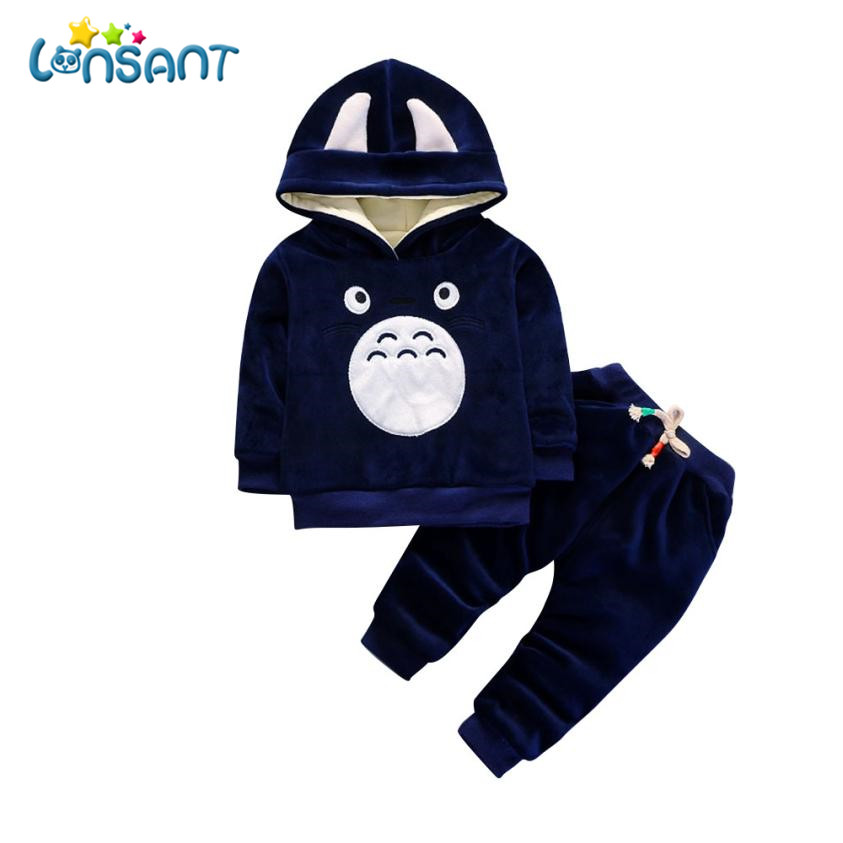 LONSANT Clothing Sets Boys Girls Cartoon Clothing Suits Fashion Baby Velvet Hoodies Pants 2Pcs Kids Winter Clothes Dropshipping