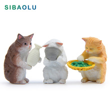 Lifestyle Cat Drink miniature figures Kitten Miniature figurines Home decoration mini fairy garden animals ornaments resin craft цена 2017