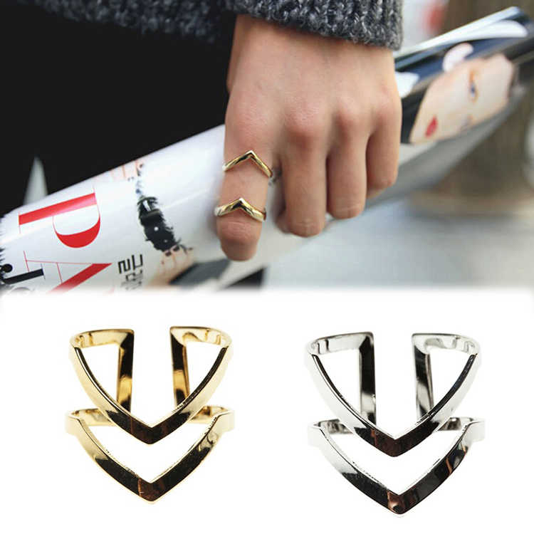Hot Selling Gold Silver Plated Double V-shaped Half Opened  Charming Jewelery Adjustable Vintage Woman Rings RING-0239