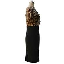 2016 Hot Designer Womem Summer Dress Short Sleeve Mid Calf Leopard Sexy Sheath Dresses 4XL Plus Size Club Deep V Neck Dresses