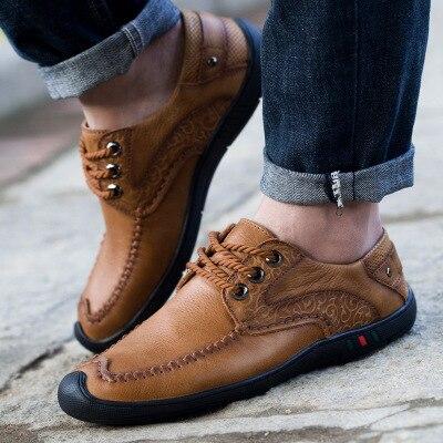 132light De Hanyu À Marque Main Casual Mâle Sneakers 11khaki Brown La Mocassins Hommes Chaussures En Cuir 132khaki 11light Brown Faits Confortable Mode TlJ3Kcu1F