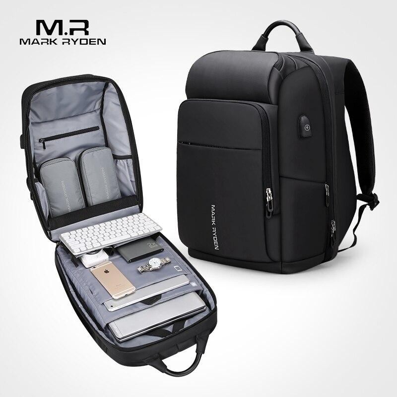 Mochila multifuncional Mark Ryden para hombre, bolsa de ordenador portátil de 17 pulgadas de carga USB, bolsas de viaje impermeables de gran capacidad para hombres de negocios