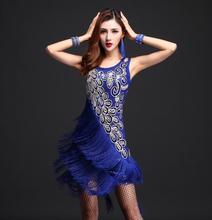 Borla falda para las mujeres competencia lentejuelas danza Samba Tango  vestidos traje Fringe Flamengo sexy salsa 268033226d969