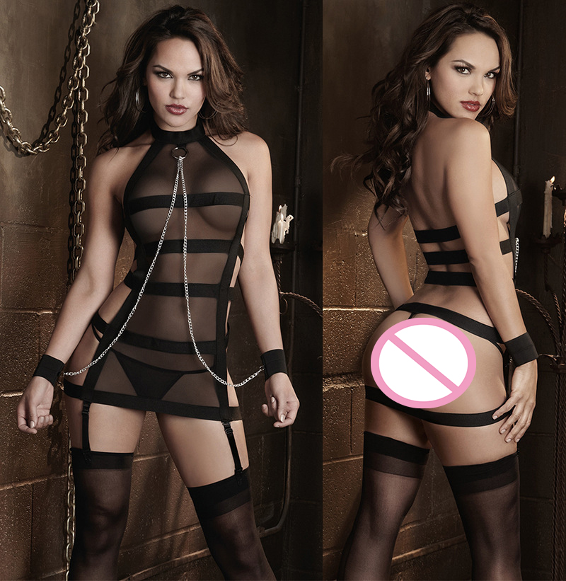 New Sexy Lingerie Uniform Temptation Black Mesh Bandage Leotard Bodysuit Pole dancing Performance Costume DS Nightclub Clothes