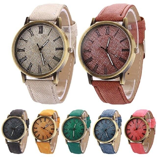 Men Women Vintage Round Casual Cowboy Analog Quartz Wrist Watch