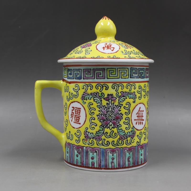 Ancienne porcelaine chinoise pastel longévité sans bornes ancienne tasse à thé