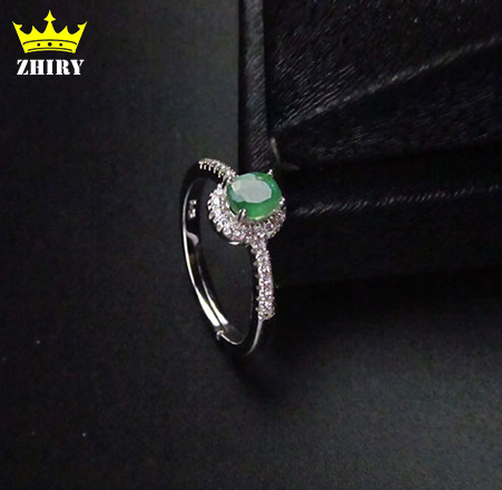 Natural Emerald gem ring Genuine Solid 925 sterling silver rings white gold plated woman fine Jewelry Precious stone Royal
