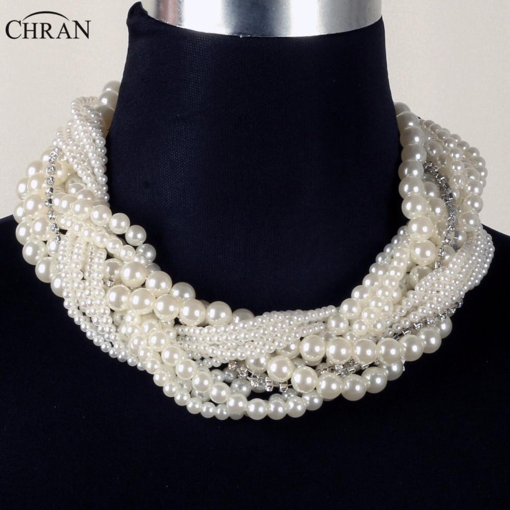 Chran Wholesale Brand Statement Jewelry Rhinestone Accessories Fashion  Multi Layer Faux Pearl Design Choker Necklace For