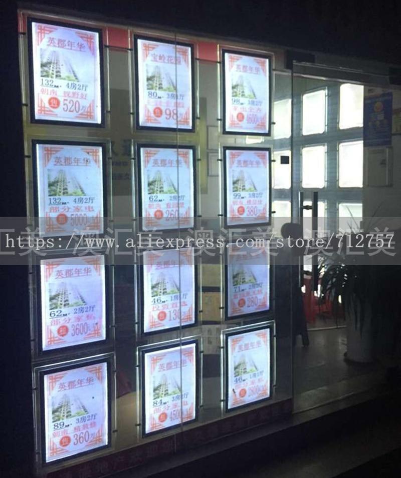 Vertical colgando bolsillo luz A3 doble cara acrílico pantalla LED ...