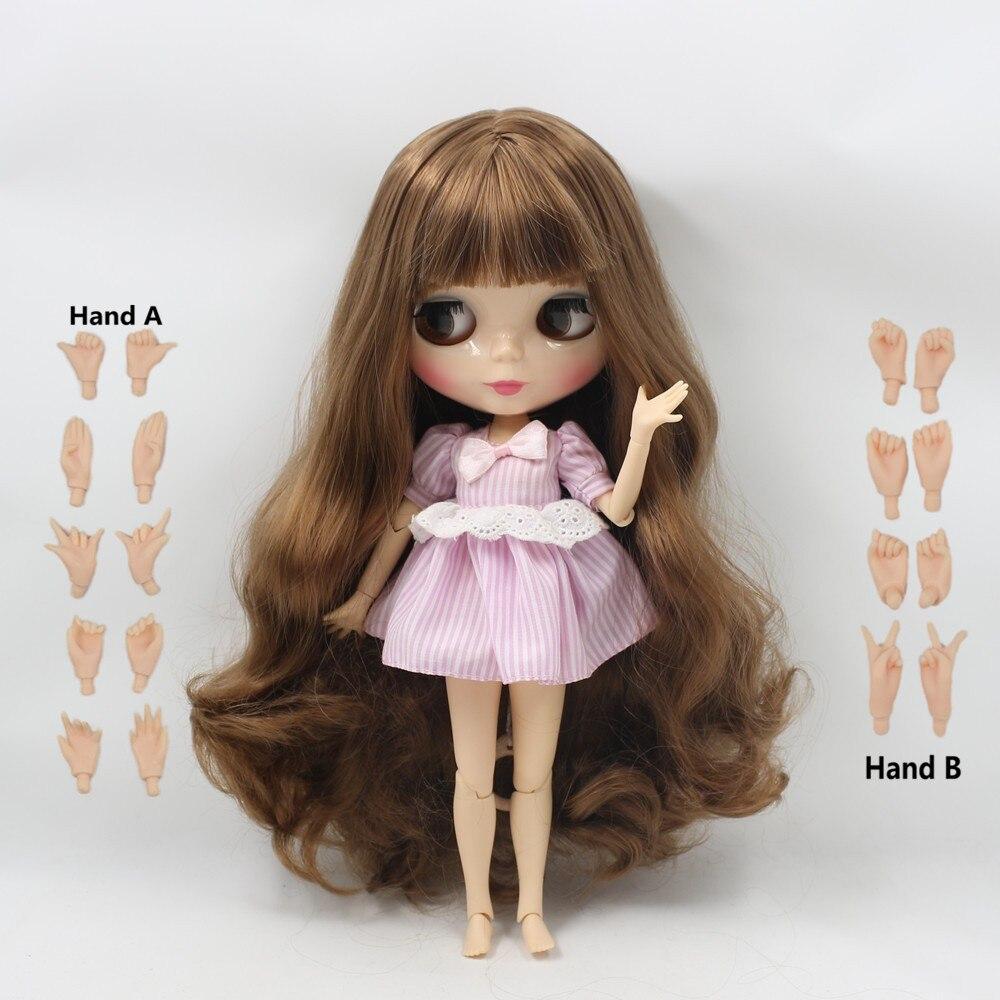 Бесплатная доставка фабрики Блит куклы 280BL9158 коричневый длинные волосы большой груди совместное кукла натуральной кожи