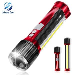 Image 1 - Linterna LED giratoria telescópica con zoom, luz lateral recargable, para acampada, carga teléfono