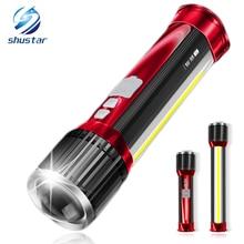 Yenilik LED el feneri Dönen teleskopik zoom LED El Feneri yan ışık Ile Şarj Edilebilir Kamp ışık Projektör telefon şarj Edebilirsiniz