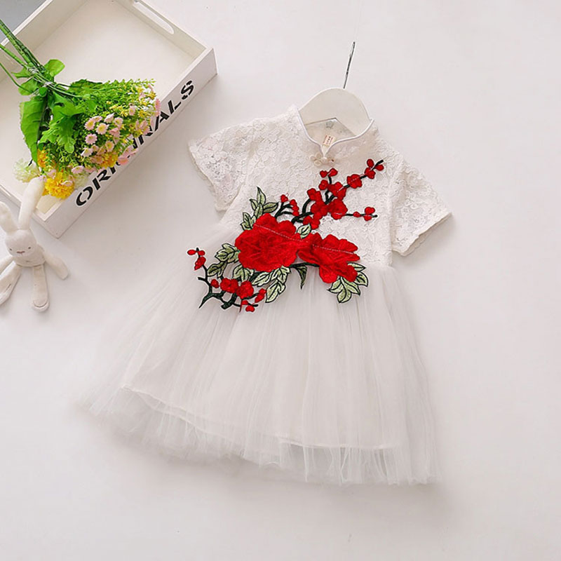 Infant Baby Girl Flower Summer Princess Dress 1 Year Birthday Party Dressing For Newborns Children's Clothing Clothes Outerwear baby girl 1st birthday outfits short sleeve infant clothing sets lace romper dress headband shoe toddler tutu set baby s clothes
