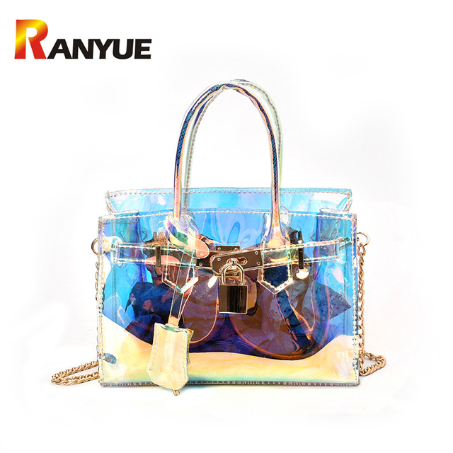 dc034943523 RANYUE Spring Transparent Patent Women Bag Small Lock PVC Jelly Shoulder  Messenger BagsLaser Holographic Chains Ladies Handbags -in Shoulder Bags  from ...