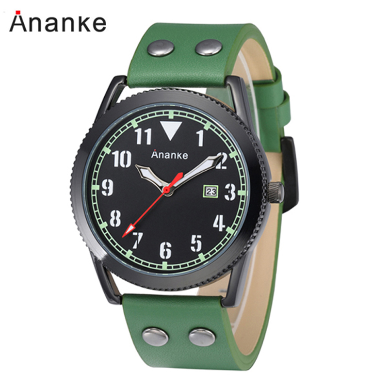 Ananke Men Watches Leather Waterproof Quartz Wristwatches Casual Men's Watch Date Clock Relogio Masculino