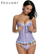 dd195309f3cf1 Ekouaer Corsets Plus Size Women Corsets and Bustiers Sexy Shaperwear Sexy  Bridal Waist Cincher 6XL Slim Corset With G-string