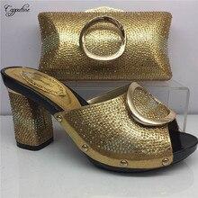 4789046042e2a0 Haute classe or de mariage/parti Africain haute talon slip-on chaussures  correspondant avec sac à main ensemble GY2, 5 couleur e.