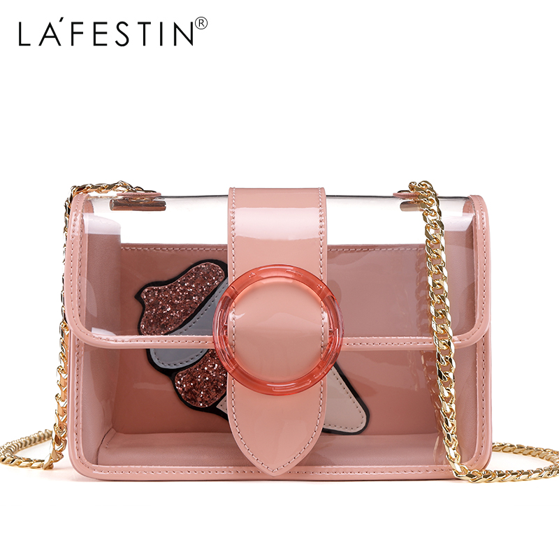 LAFESTIN Women Fashion Jelly Bag Clear Metal Chain Strap Transparent Flap  Bag Casual Beach Jelly Lay Crossbody Bags-in Shoulder Bags from Luggage    Bags on ... d60f51a750835