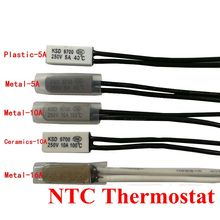цены 10pcs Thermostat 10C-240C KSD9700 70C 75C 80C 85C 90C 95C Bimetal Disc Temperature Switch Thermal Protector degree centigrade
