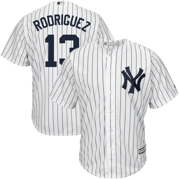 MLB Men s New York Yankees Alex Rodriguez Baseball White Navy Home Big    Tall Cool Base Player Jersey aa5d360763b