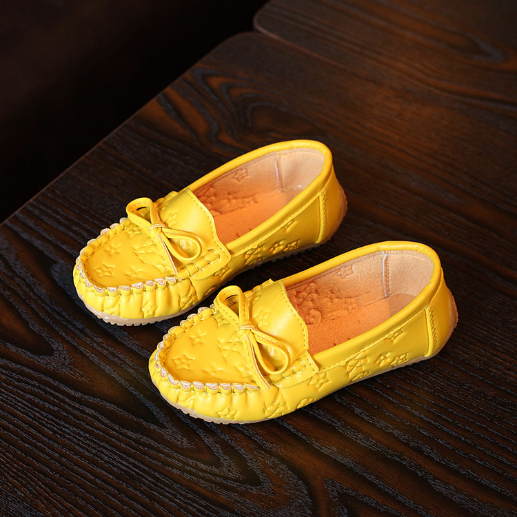 2017 new children s shoes girl bow breathable PU leather shoes children s casual shoes