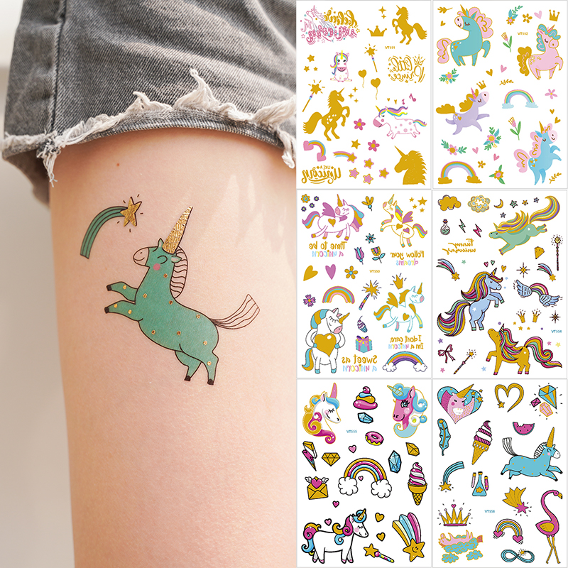 Temporary Tattoos For Children Women Gold Tattoo Sticker Horse Unicorn Tattoo Cartoon Kids Metal Temporary Tattoo Stickers Tatoo