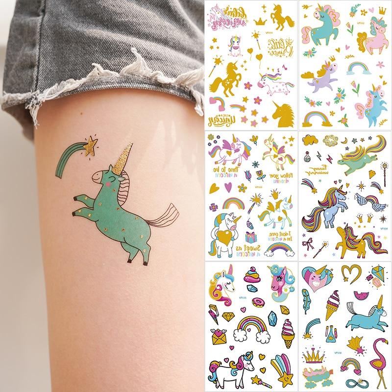 Temporary Tattoos For Children Women Gold Tattoo Sticker Horse Unicorn Tattoo Cartoon Kids Metal Temporary Tattoo Stickers Tatoo
