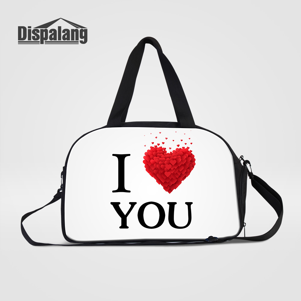 Dispalang Canvas Women Travel Bags Cute I Love You Pattern Ladies Outdoors Duffle Bag Girls Lovely Weekend Handbag Drop Shipping