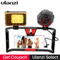 Portable Dual Handheld Video Cage Stabilizer Kit Film Steady Handle Mount Holder Grip Rig for Smart phone Video Light Microphone