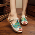 Women Peacock Embroidery Cotton Slippers Summer Fashion Sandals Chinese Style Casual Slide Flat Shoes Slip on Peep Toe Sandials