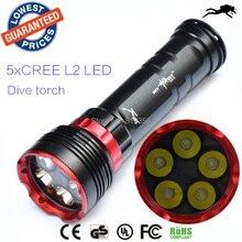 DX5S diving 8000lm underwater flashlight 5xcreeXM-L L2 LED dive torch light waterproof brightness diving led flashlight