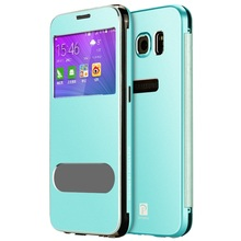For Galaxy S6 G920 OATSBASF Aluminium Alloy Smart Flip Case with Dual View Window for Samsung S 6 Phone Cover