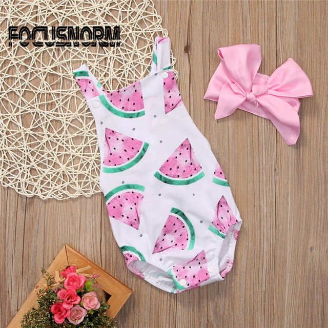 Newborn Baby Girl Romper Baby Girls Clothes 2017 New Sleeveless Watermelon Backless Jumpsuit +Headband 2PCS Outfits Sunsuit 0-2Y