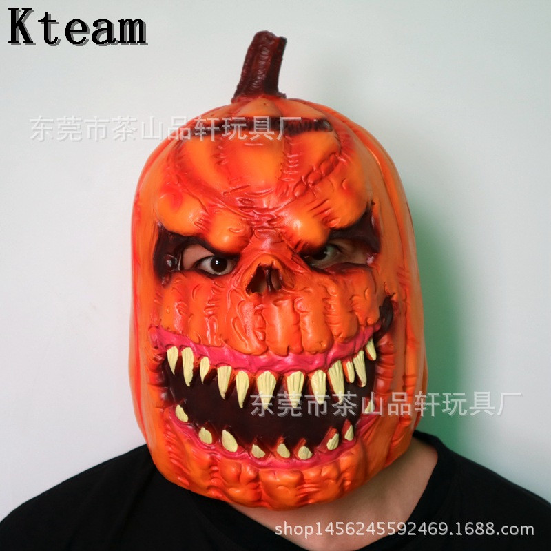 2018 New Deluxe Halloween Party Costume Scary Pumkin Head Mask Horror Zombie Face Mask Scary funny ghost head mask full head toy