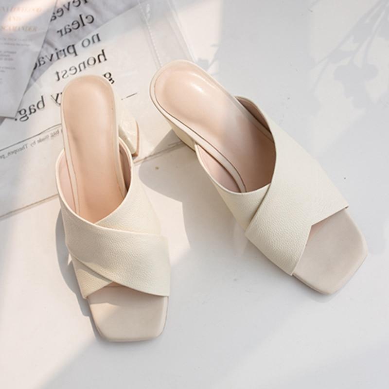ORCHA LISA/2019 г. Новая женская обувь, женские туфли с перекрестными ремешками, сандалии на коротком каблуке на толстом высоком каблуке, шлепанцы с открытым носком, желтые шлепанцы - 2